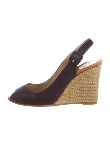 Christian Louboutin Canvas Slingback Wedges None