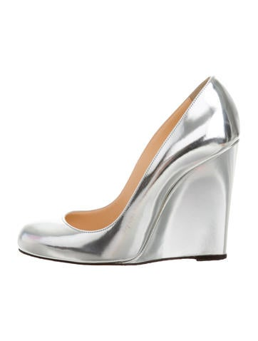 Christian Louboutin Metallic Round-Toe Wedges None