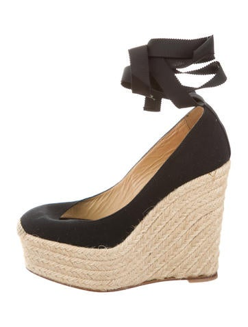 Christian Louboutin Espadrille Lace-Up Wedges None