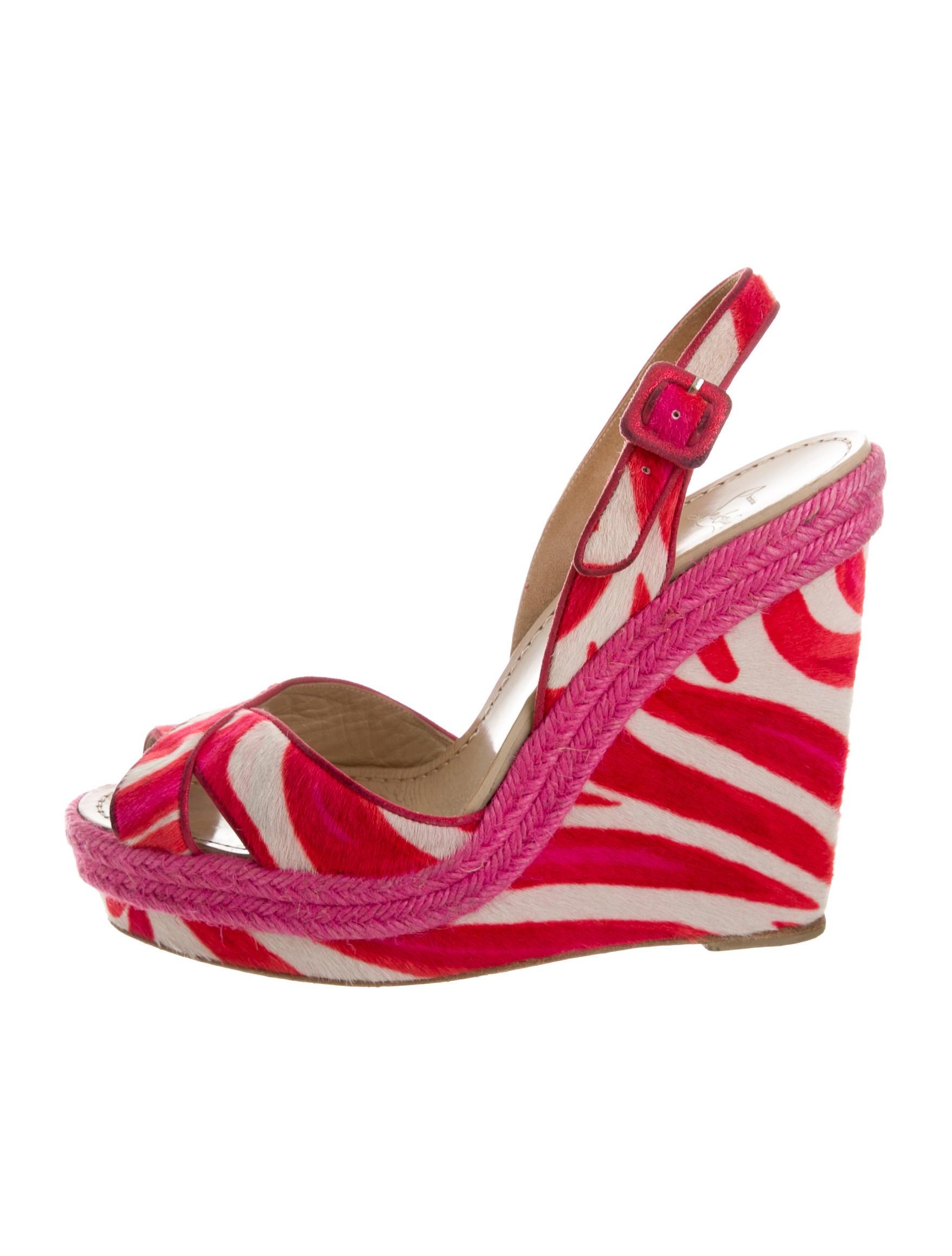 christian louboutin zebra print ponyhair wedges shoes