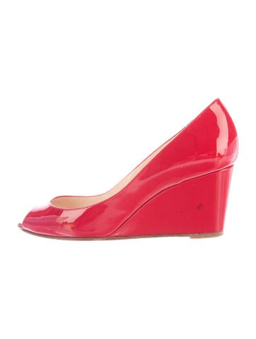 Christian Louboutin Peep-Toe Patent Leather Wedges None
