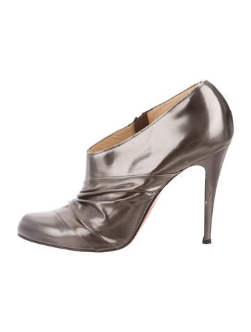 Christian Louboutin Metallic Round-Toe Booties