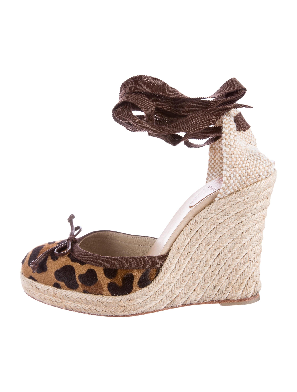 Christian Louboutin Ponyhair Espadrille Wedges Shoes