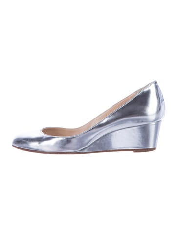 Christian Louboutin Metallic Patent Wedges None