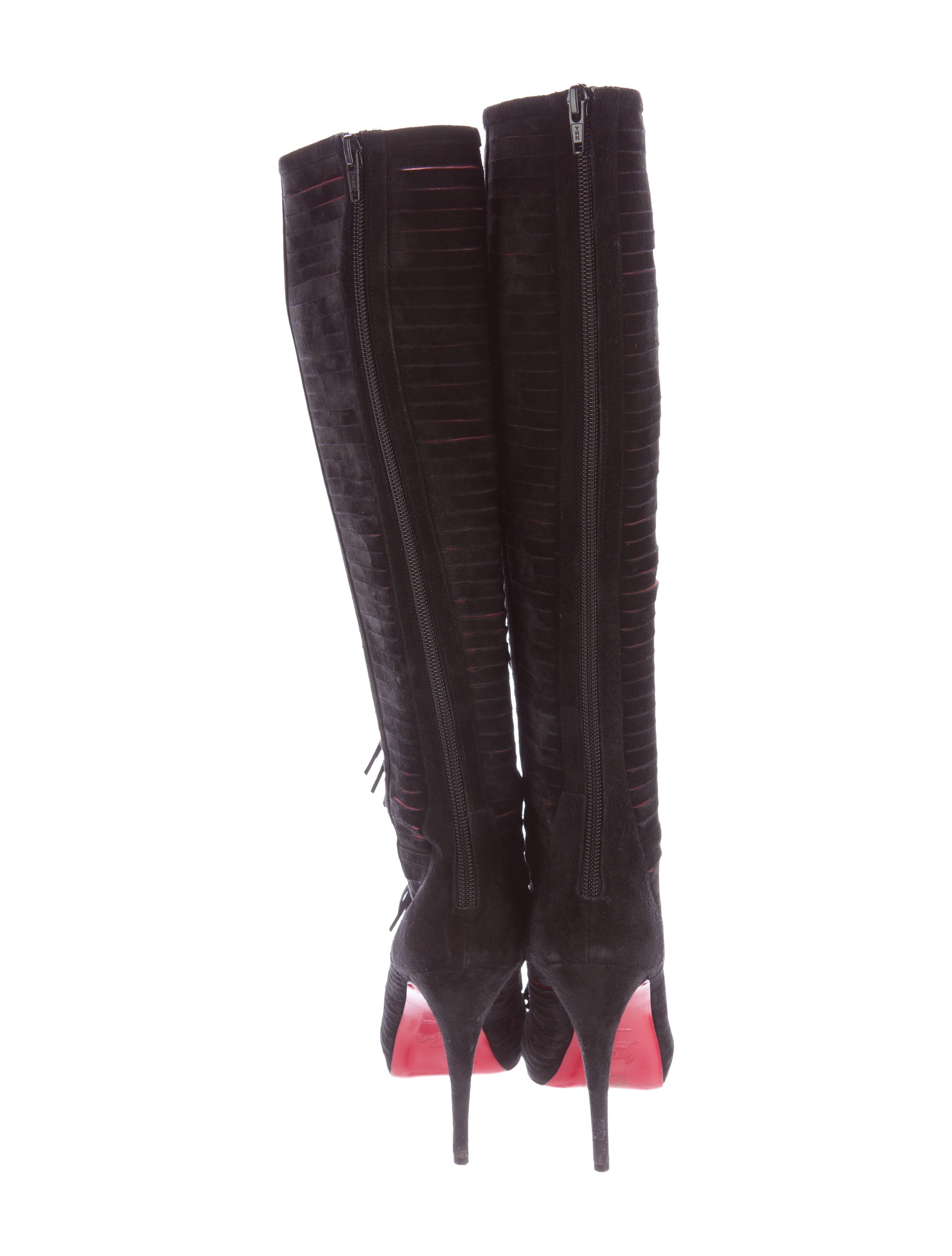 christian louboutin suede fringe boots shoes cht57473