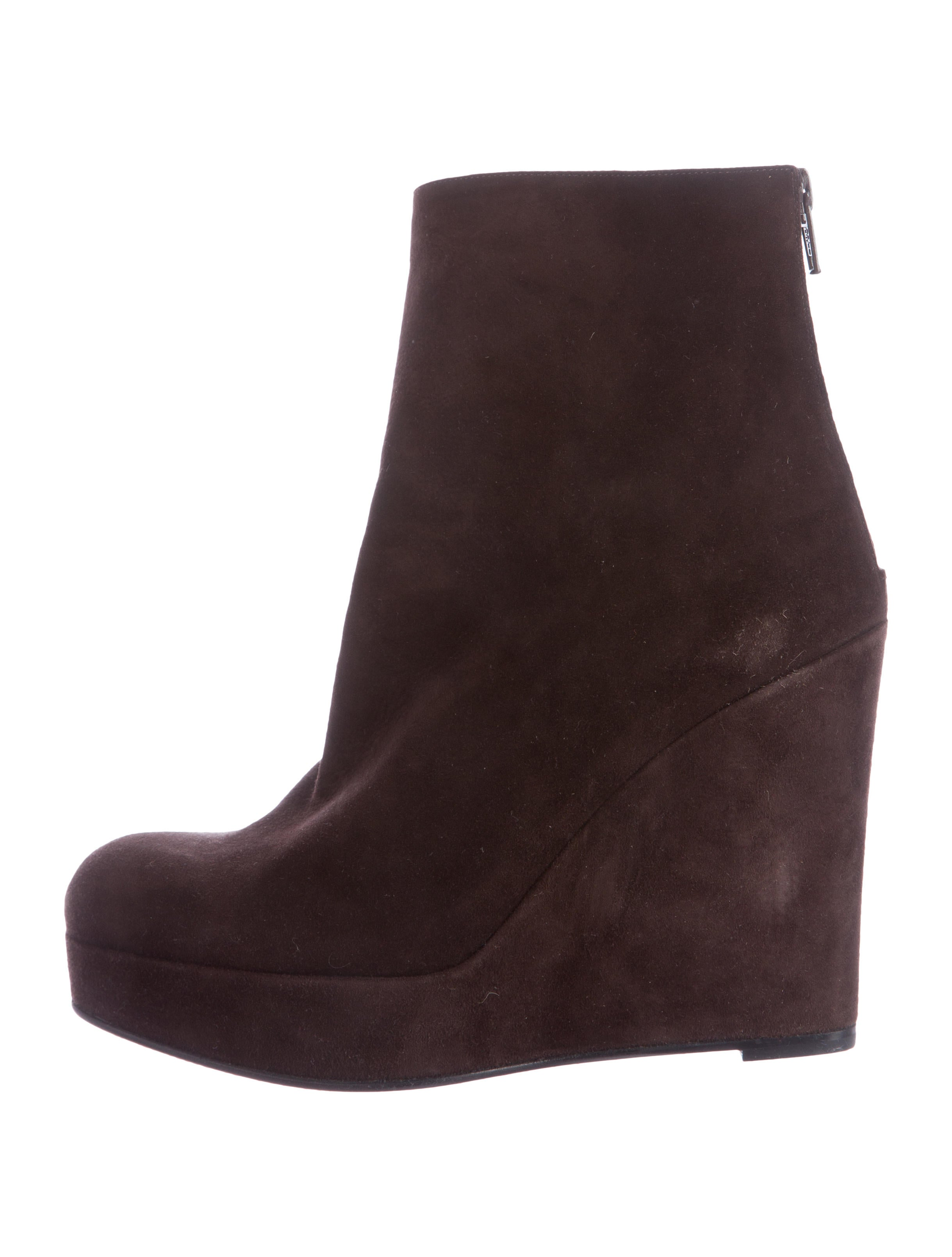 christian louboutin suede wedge ankle boots shoes