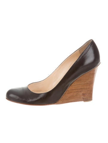 Christian Louboutin Leather Round-Toe Wedges None