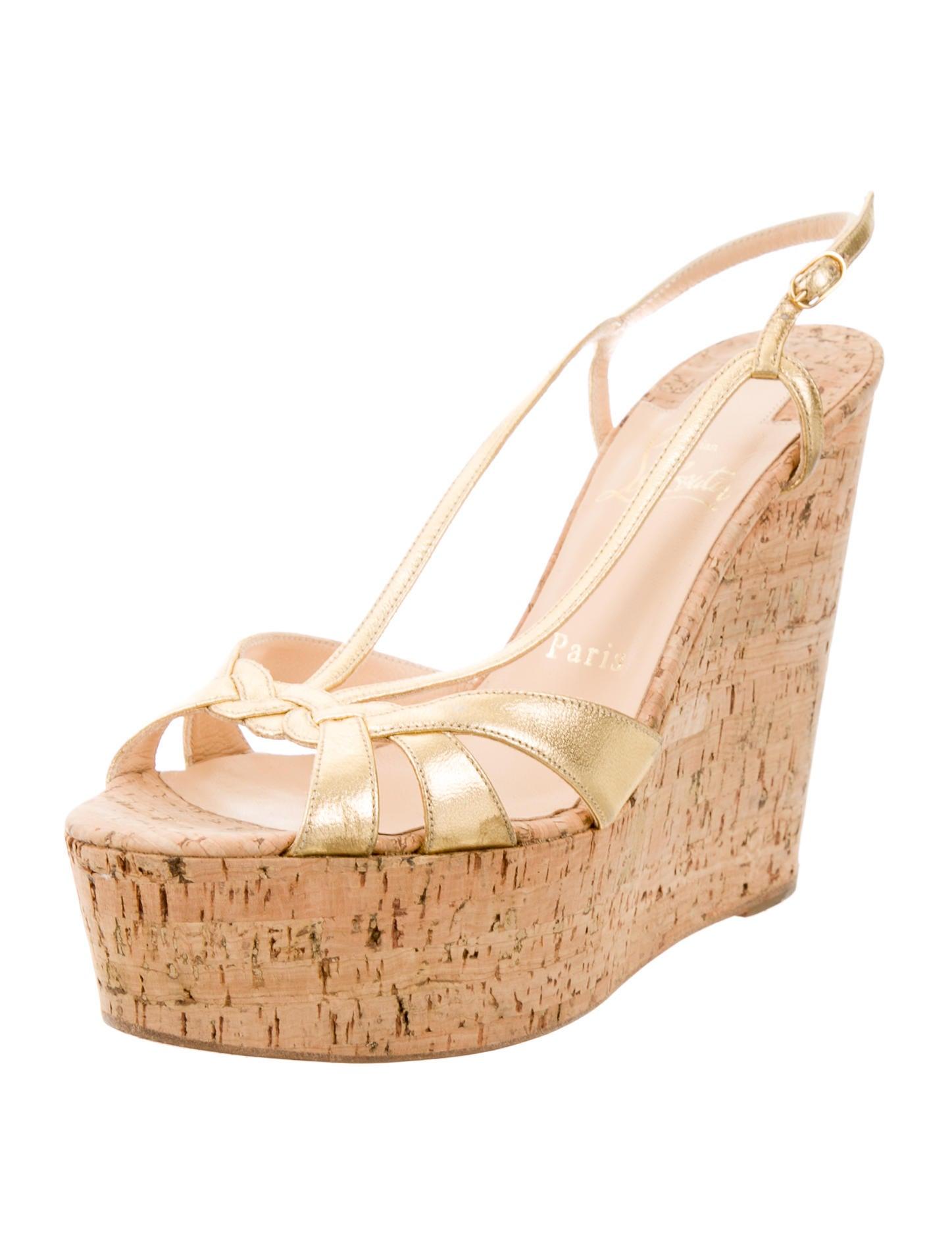 christian louboutin metallic wedge sandals shoes