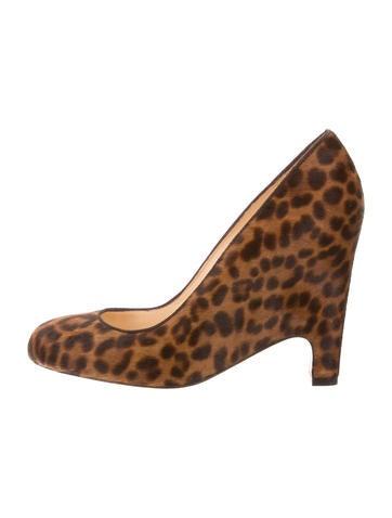 Leopard Print Ponyhair Wedges