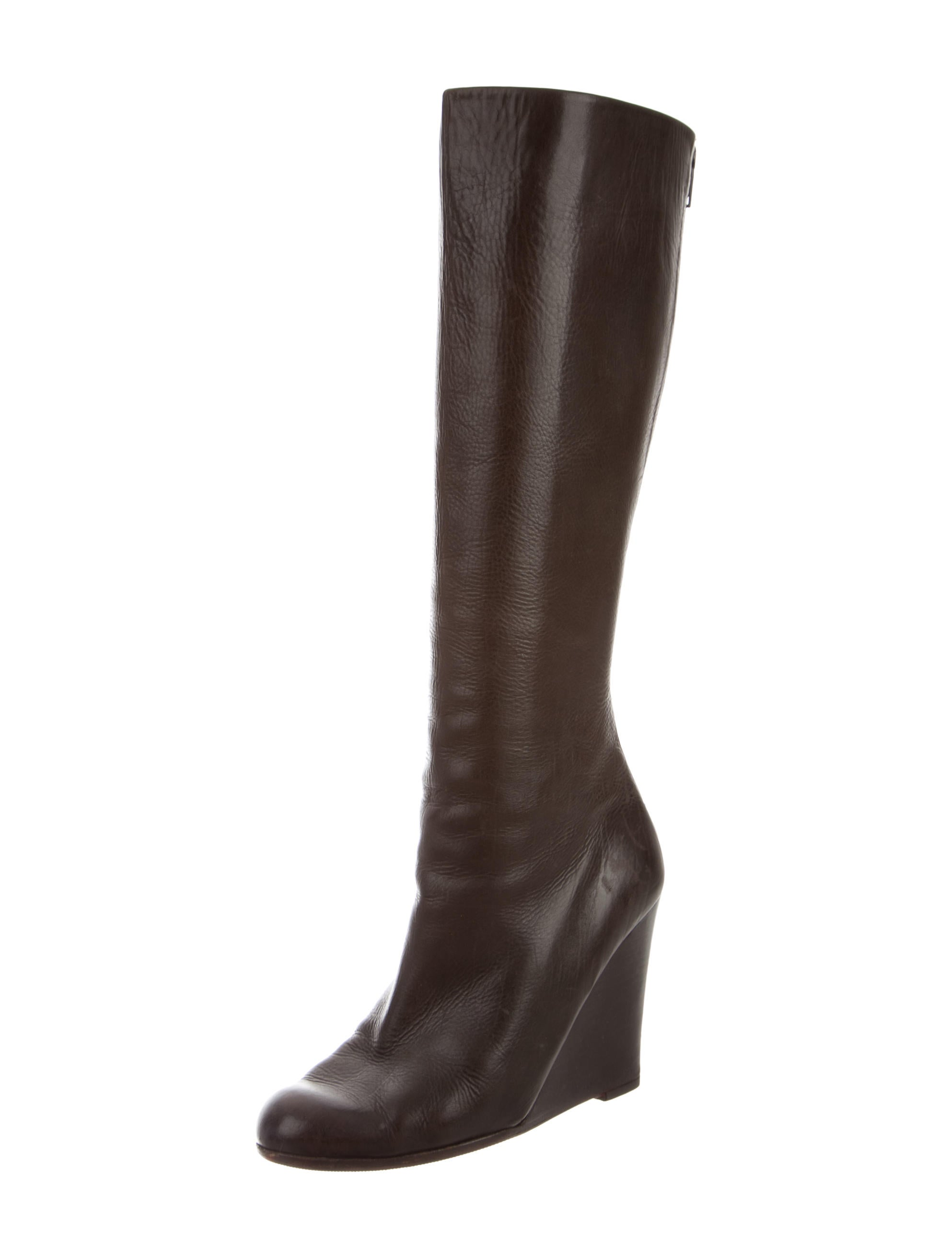christian louboutin leather wedge knee high boots shoes