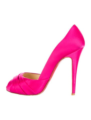 Satin Peep-Toe Pumps