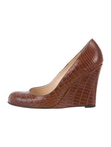 Christian Louboutin Alligator Round-Toe Wedges None