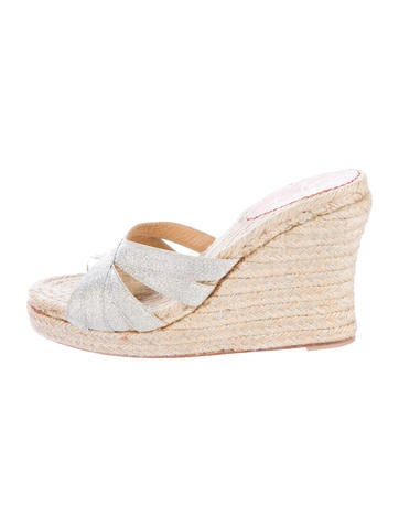 Christian Louboutin Metallic Espadrille Wedge Sandals None