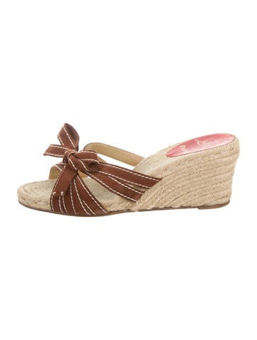 Christian Louboutin Bow-Accented Espadrille Wedges None
