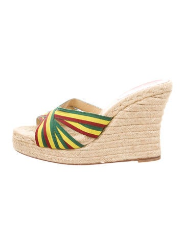 Christian Louboutin Multicolor Crossover Espadrille Wedges None