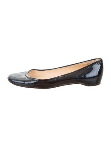 Christian Louboutin Patent Leather Round-Toe Flats None