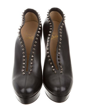 Leather Stud-Accented Booties