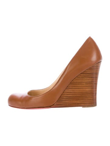 Christian Louboutin Round-Toe Leather Wedges None