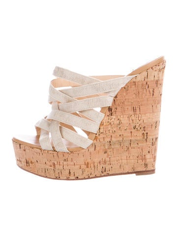 Christian Louboutin Canvas Platform Wedges None