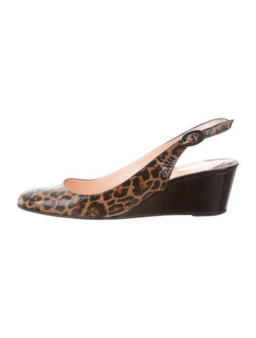 Christian Louboutin Leopard Slingback Wedges None