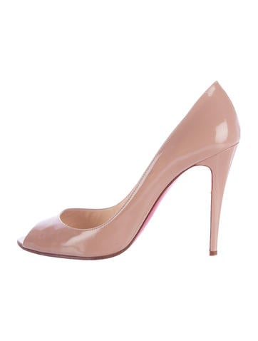 Christian Louboutin Patent Leather Peep-Toe Pumps None