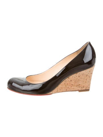 Christian Louboutin Patent Leather Cork Wedges None