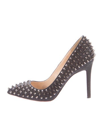Christian Louboutin Pigalle Spikes 100 Flannel Pumps