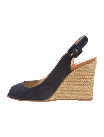 Christian Louboutin Slingback Espadrille Wedges None