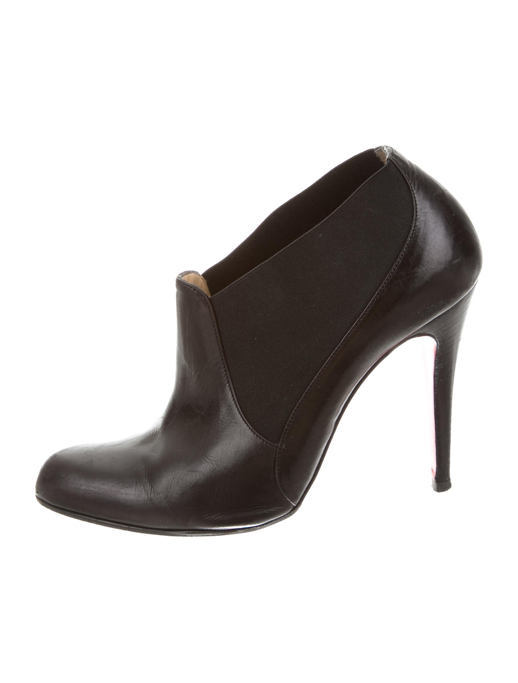 christian louboutin leather pointed toe booties shoes