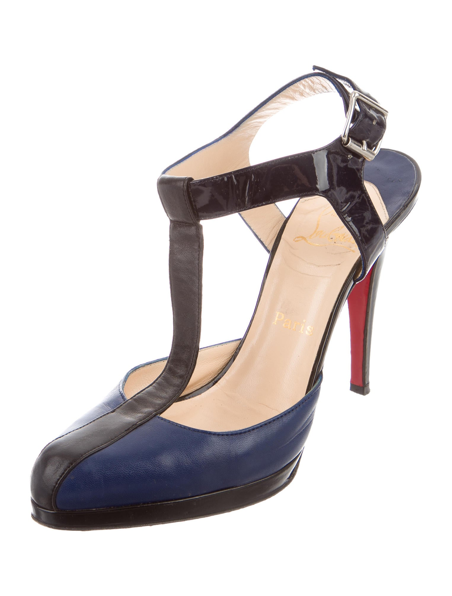 christian louboutin leather t strap pumps shoes cht64289 the realreal. Black Bedroom Furniture Sets. Home Design Ideas
