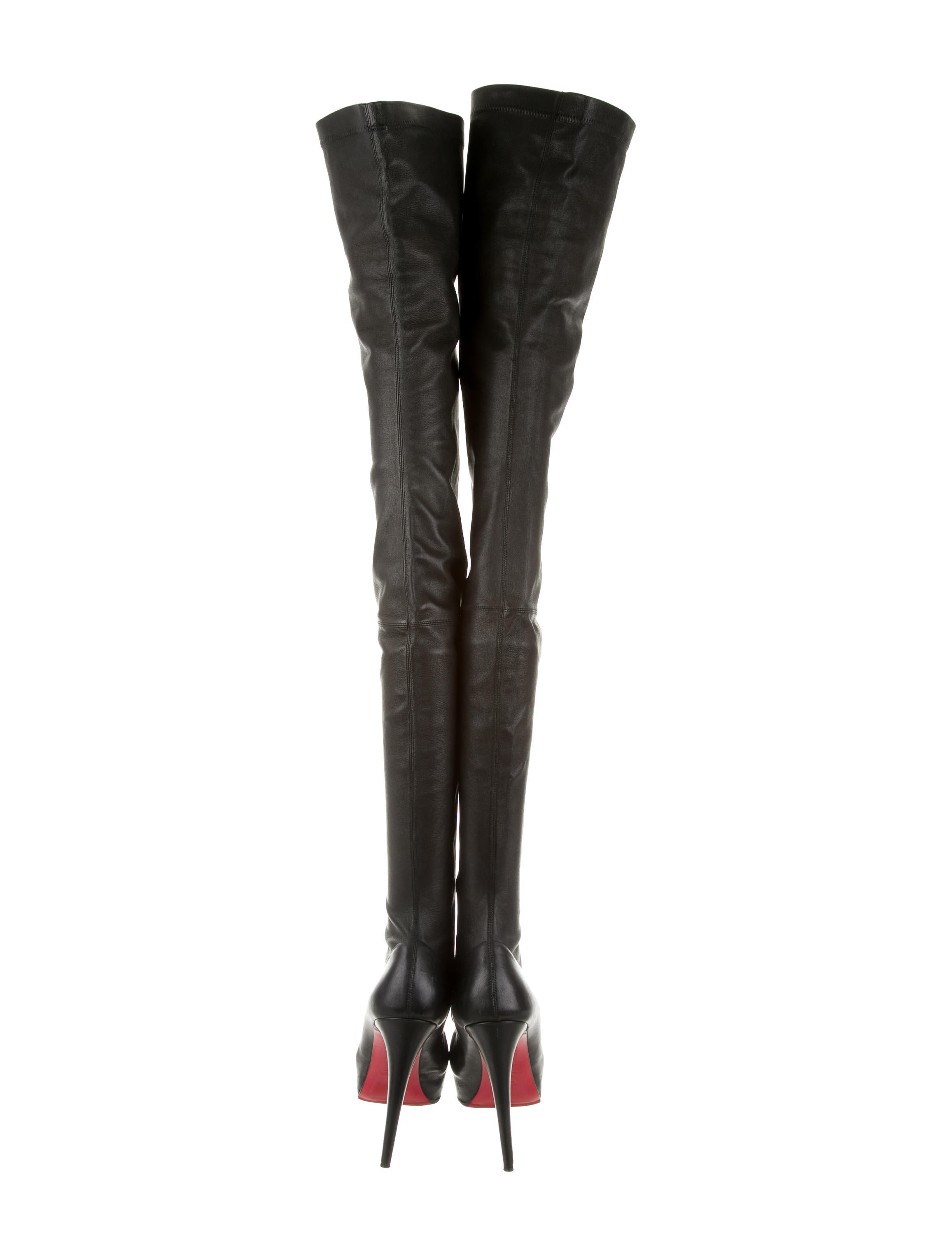 christian louboutin leather thigh high boots shoes