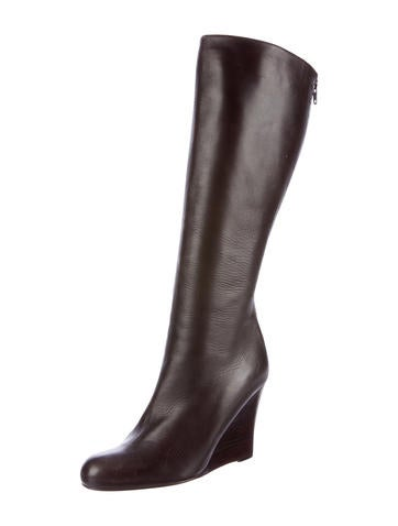 christian louboutin knee high wedge boots shoes