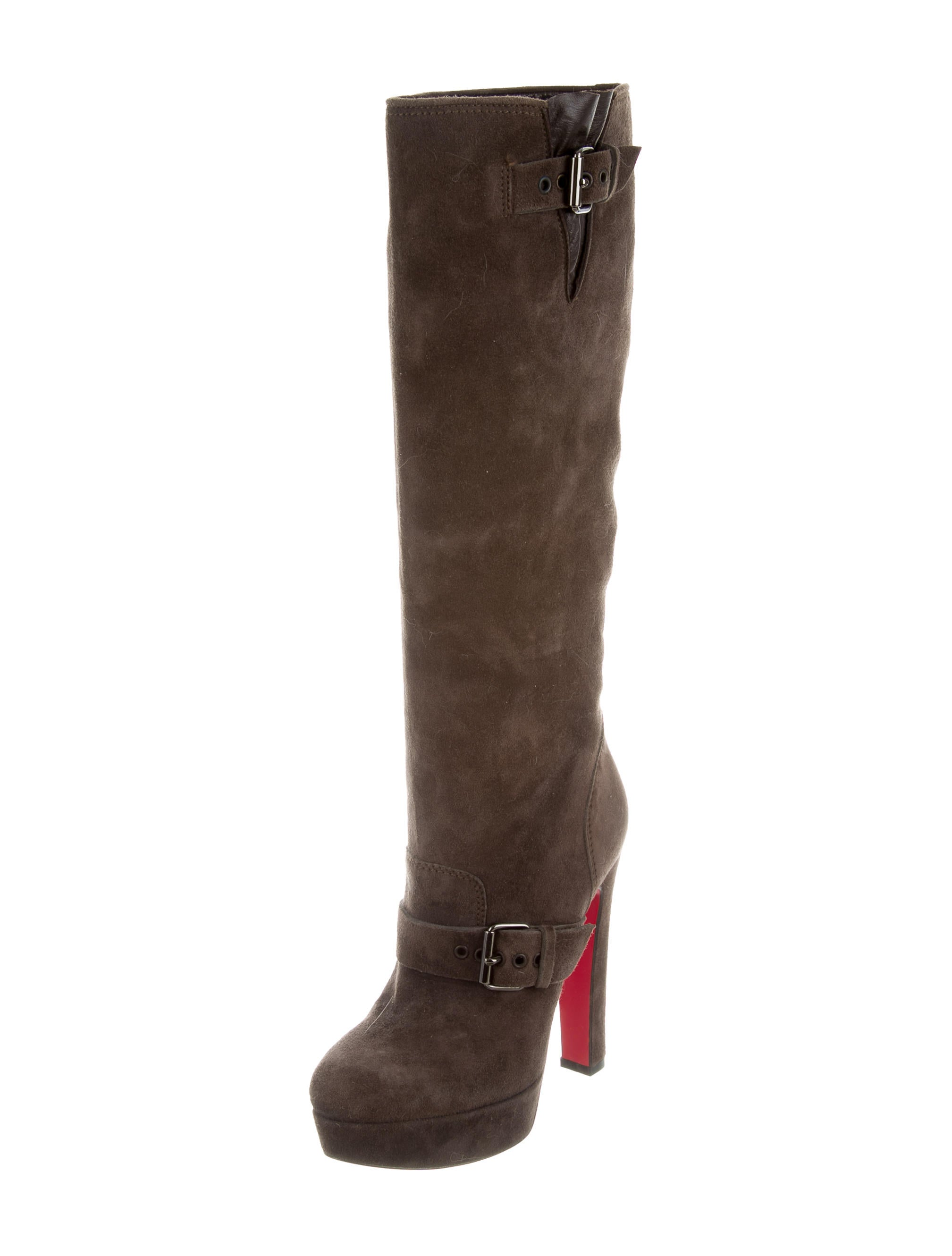 christian louboutin suede platform knee high boots shoes