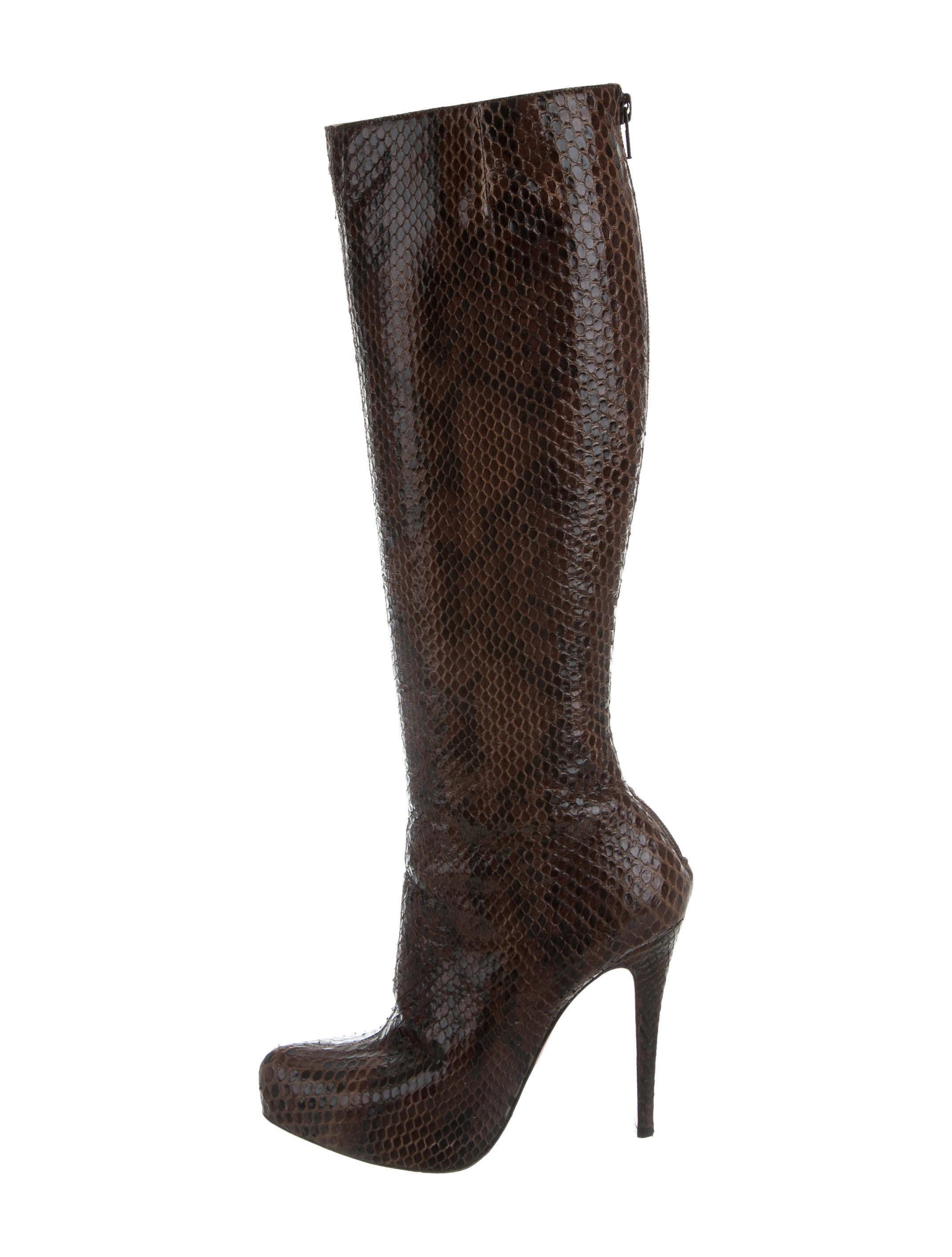 Christian Louboutin Python Knee High Boots Shoes  : CHT652741enlarged from www.therealreal.com size 2141 x 2826 jpeg 281kB