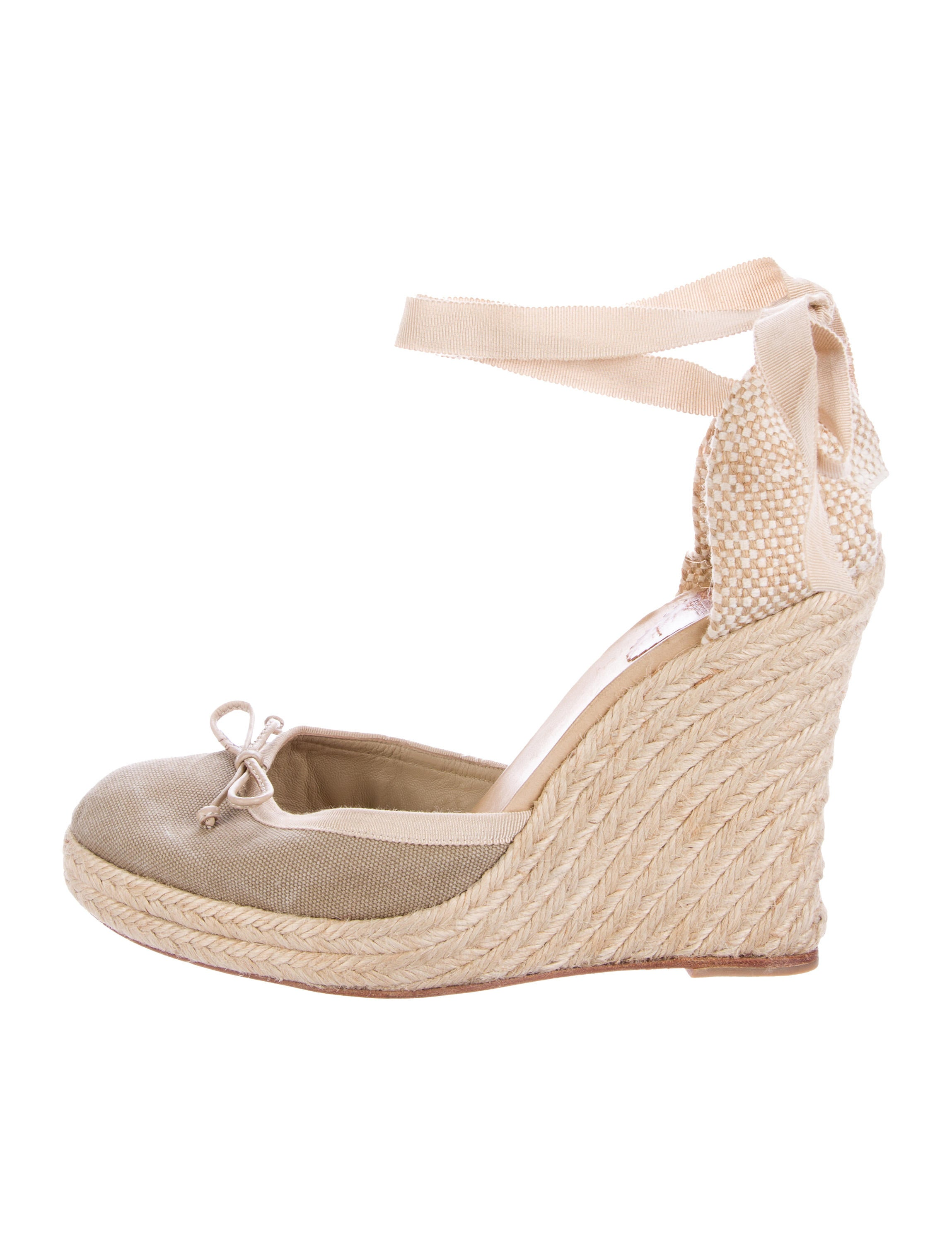 christian louboutin canvas espadrille wedges shoes
