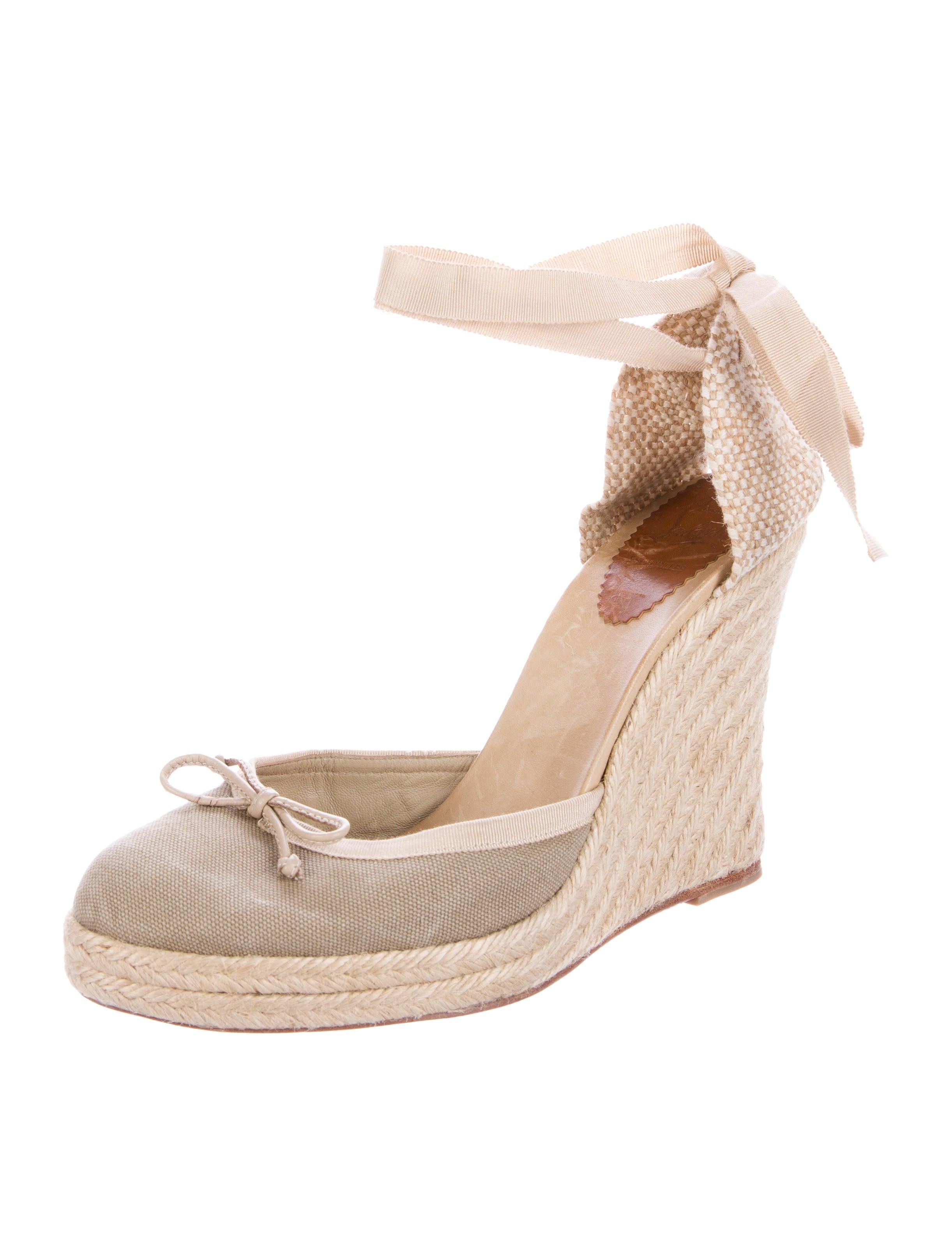 christian louboutin canvas espadrille wedges shoes