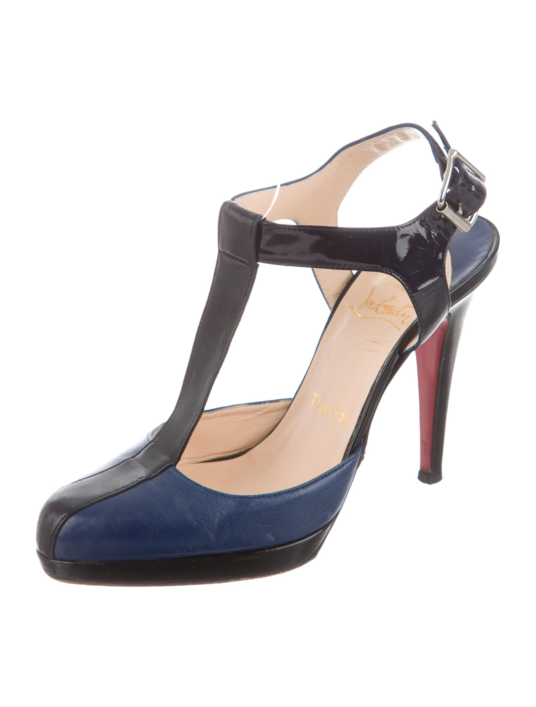 christian louboutin leather t strap pumps shoes cht65883 the realreal. Black Bedroom Furniture Sets. Home Design Ideas
