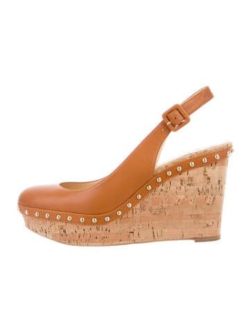 Christian Louboutin Leather Slingback Wedges None