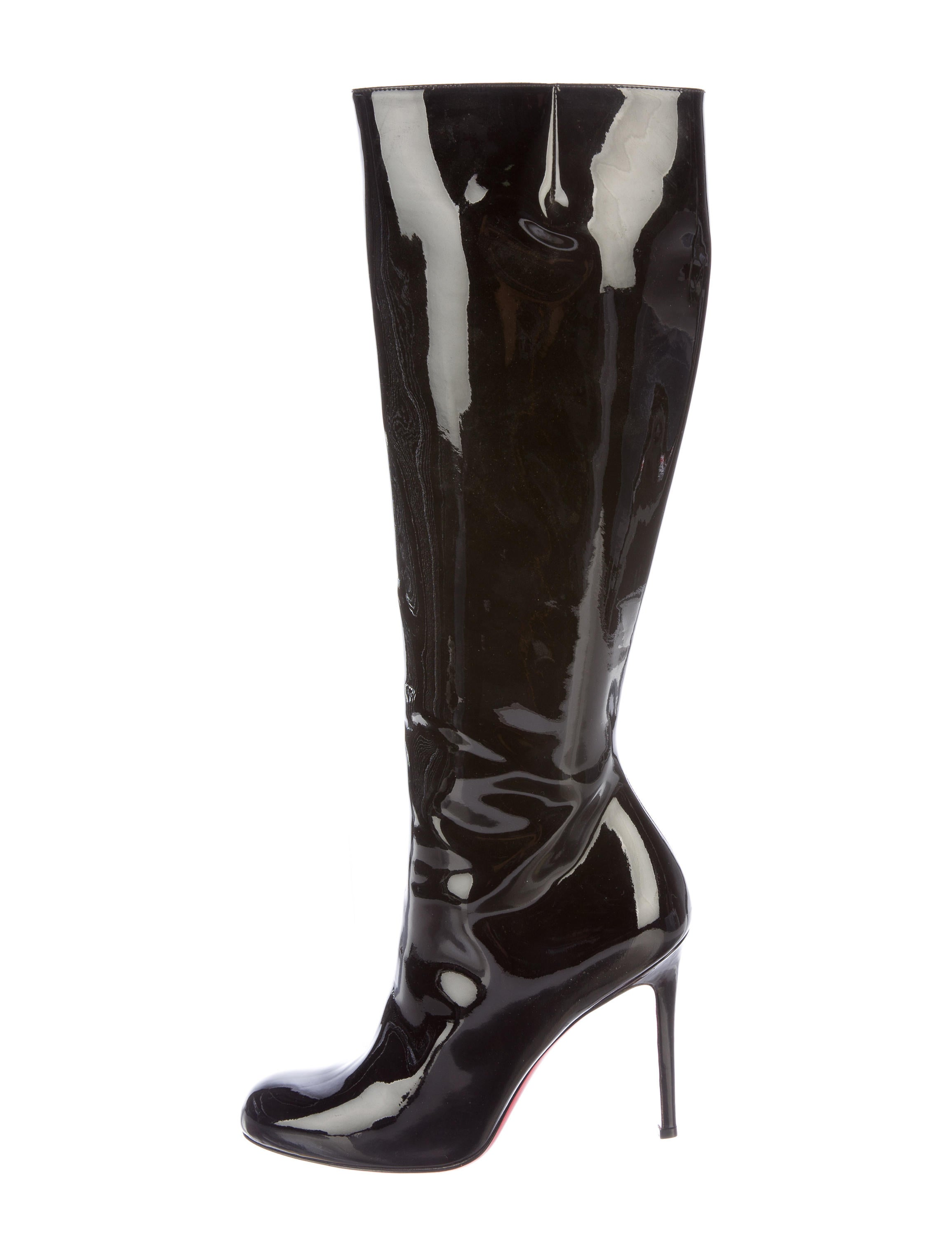 christian louboutin patent leather knee high boots shoes
