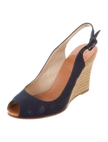 christian louboutin peep toe espadrille wedges shoes