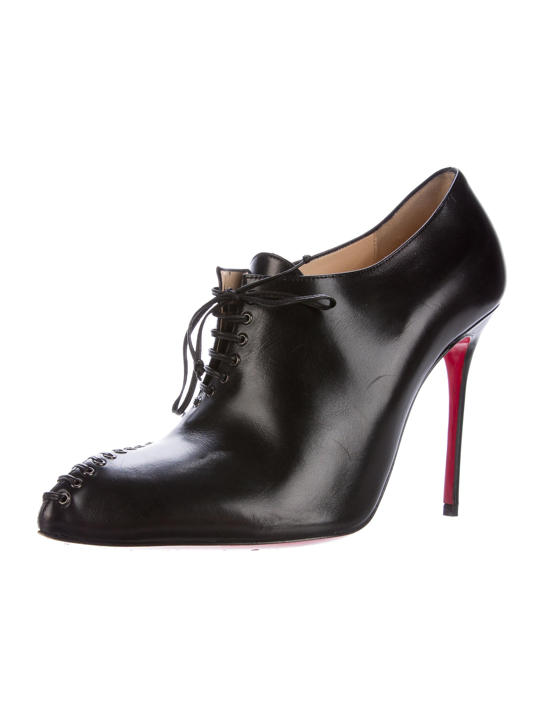 christian louboutin leather lace up ankle boots shoes