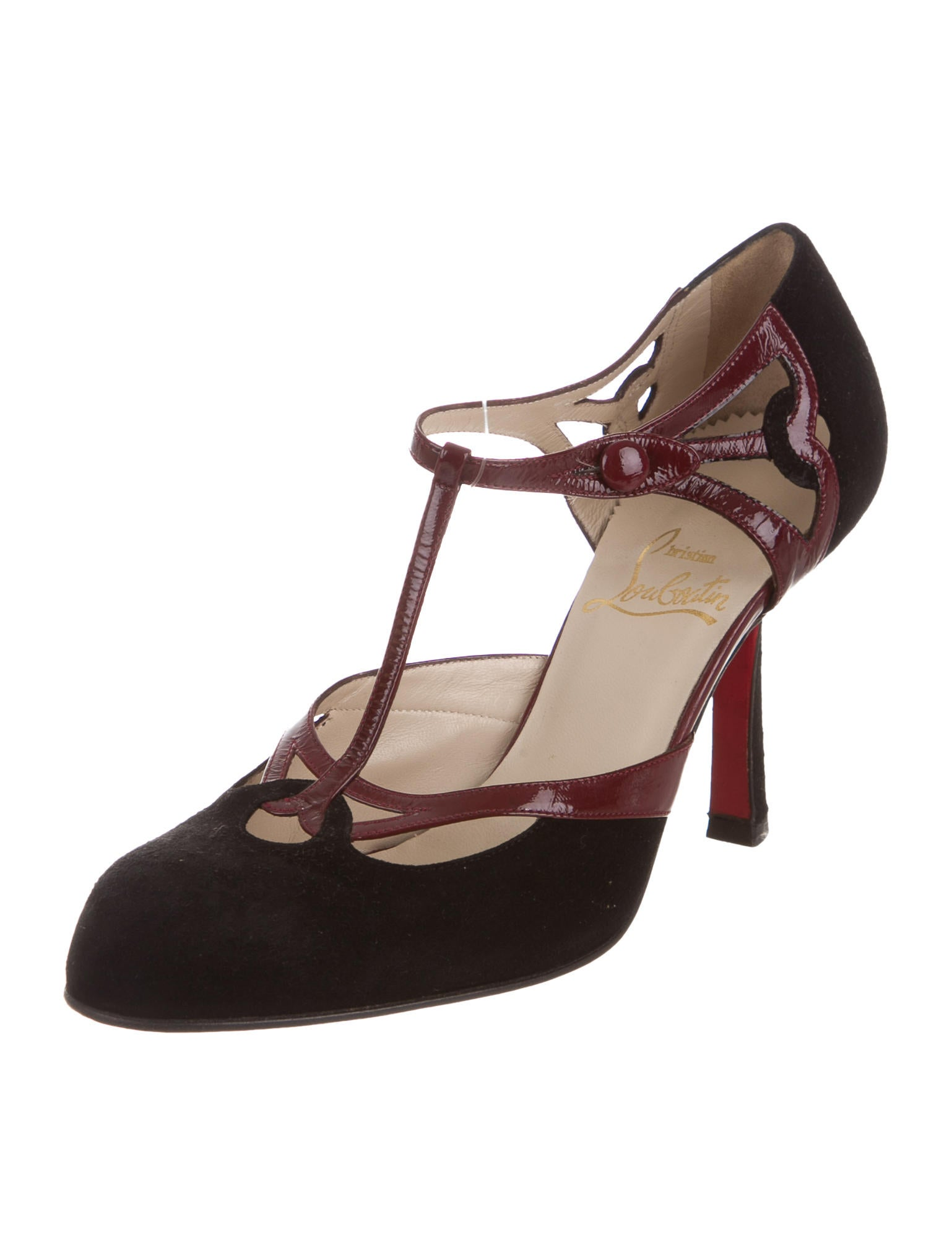 christian louboutin cutout t strap pumps shoes cht70073 the realreal. Black Bedroom Furniture Sets. Home Design Ideas
