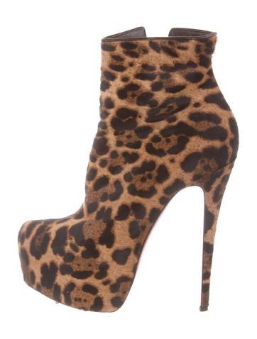 christian louboutin leopard platform ankle boots shoes