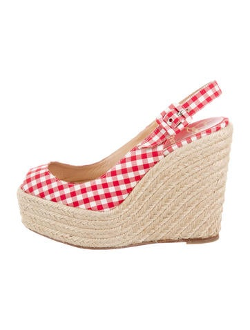 Christian Louboutin Gingham Espadrille Wedges None
