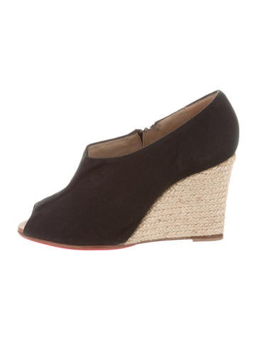 Christian Louboutin Peep-Toe Espadrille Wedges None