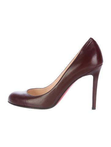 Christian Louboutin Round-Toe Leather Pumps None