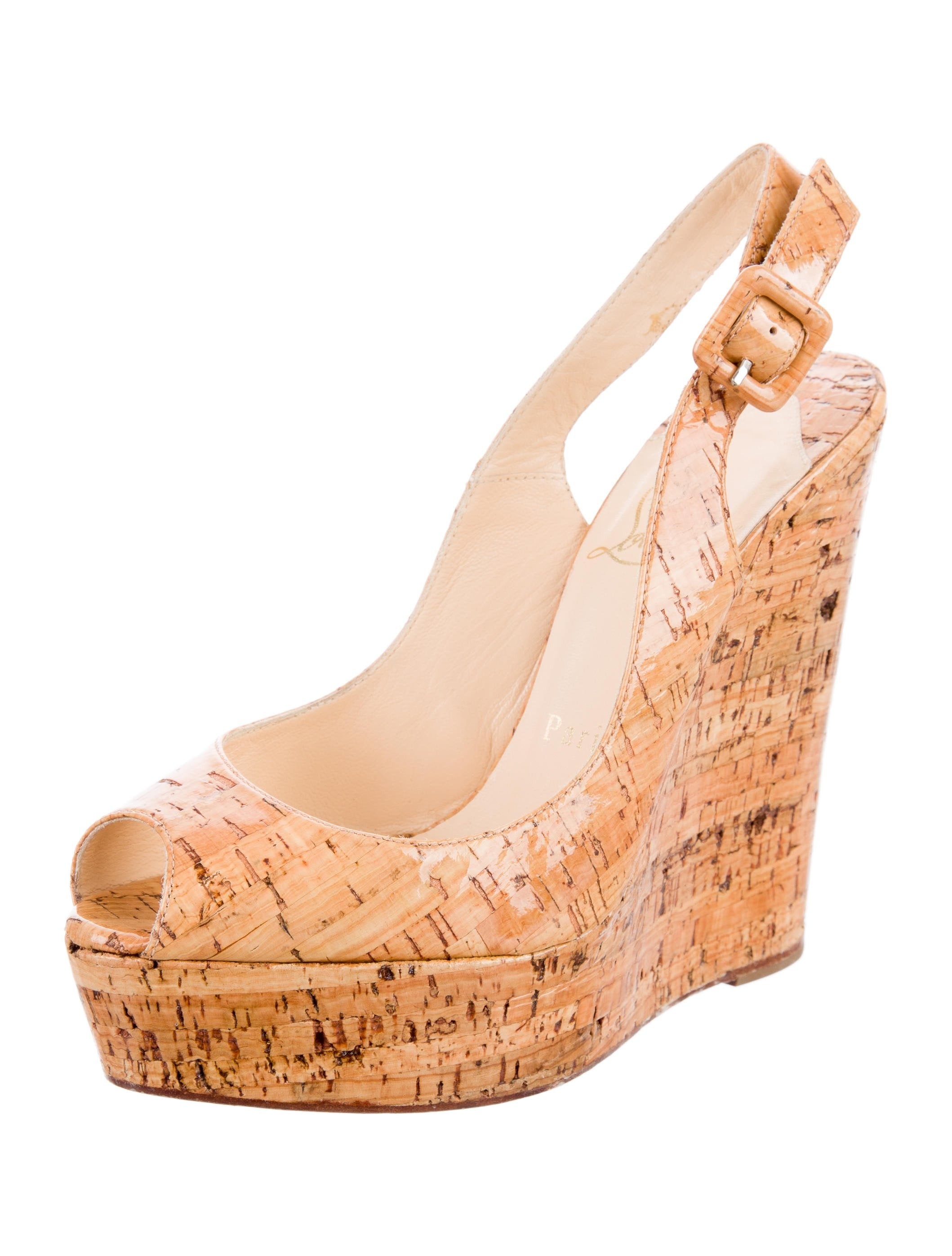 Christian Louboutin Cork Slingback Wedges Shoes