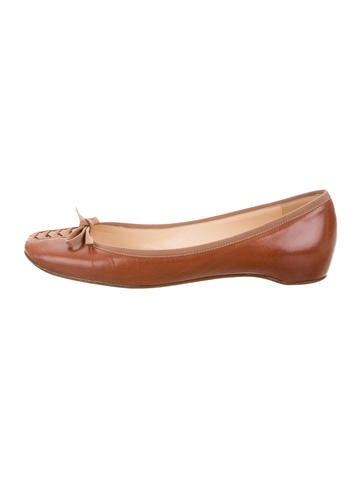 Christian Louboutin Leather Round-Toe Flats None