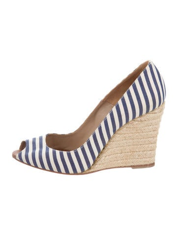 Christian Louboutin Striped Espadrille Wedges None