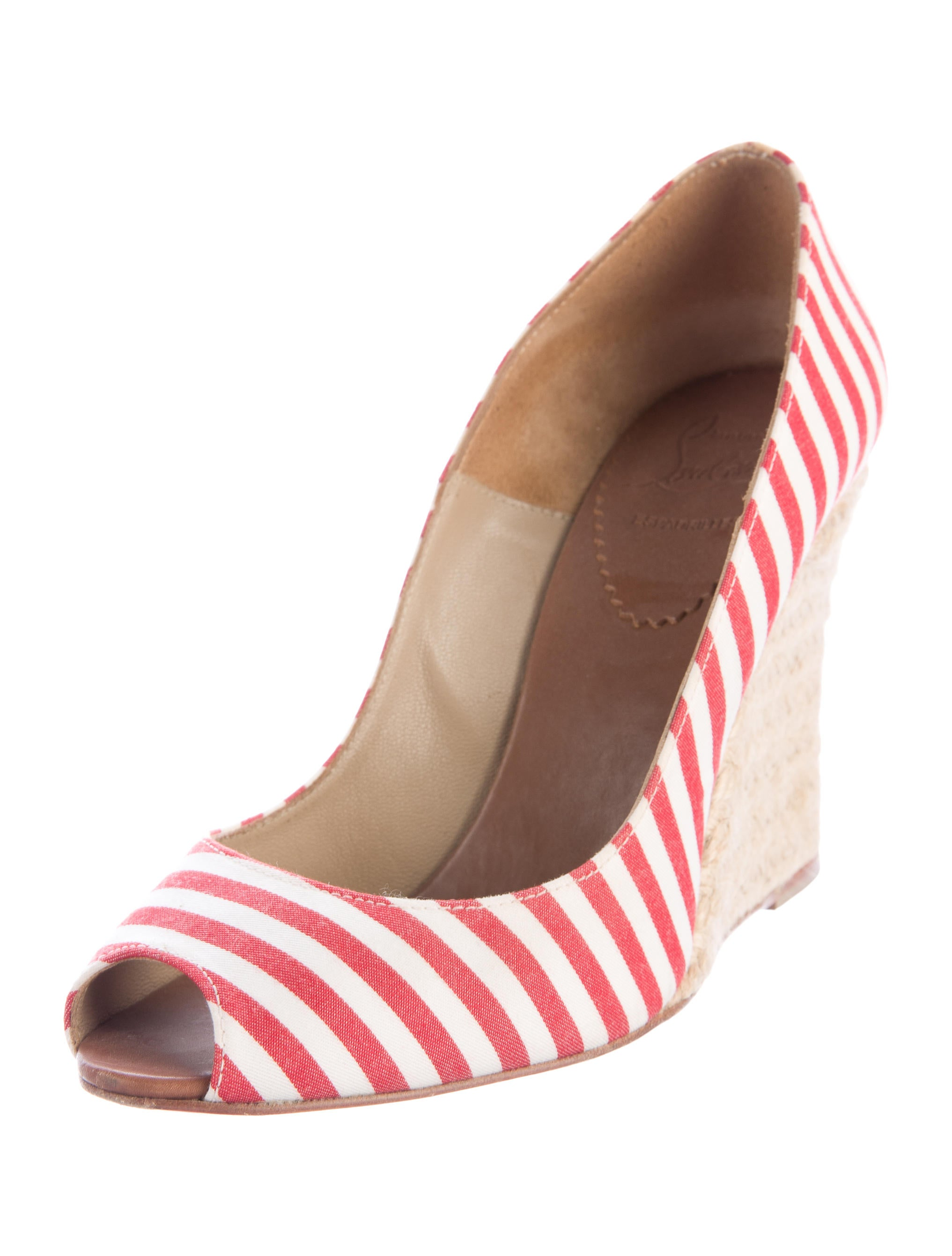 christian louboutin striped wedge pumps shoes cht72981